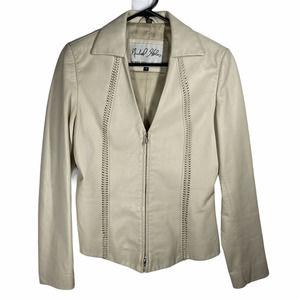 Michael Hoban Cream Leather Blazer 6